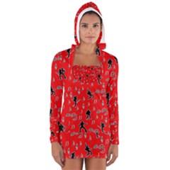 Elvis Presley  pattern Women s Long Sleeve Hooded T-shirt