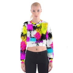 Colorful blurry paint strokes                           Women s Cropped Sweatshirt