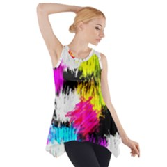 Colorful blurry paint strokes                         Side Drop Tank Tunic