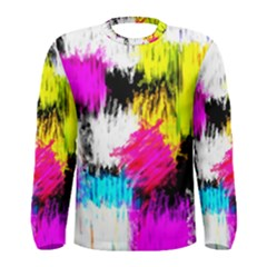 Colorful blurry paint strokes                         Men Long Sleeve T-shirt