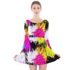 Colorful blurry paint strokes                         Long Sleeve Velvet Skater Dress