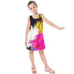 Colorful blurry paint strokes                        Kid s Sleeveless Dress