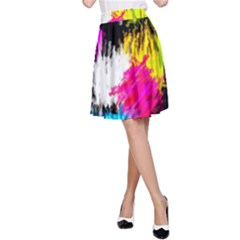 Colorful blurry paint strokes                         A-line Skater Skirt
