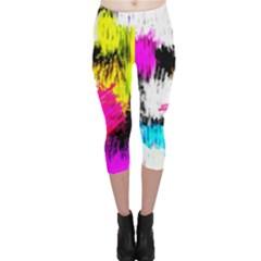 Colorful blurry paint strokes                         Capri Leggings