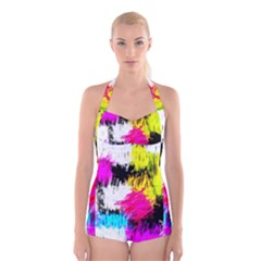 Colorful blurry paint strokes                                Boyleg Halter Swimsuit