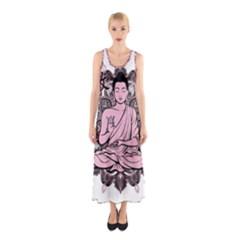 Ornate Buddha Sleeveless Maxi Dress