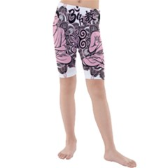 Ornate Buddha Kids  Mid Length Swim Shorts