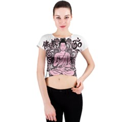 Ornate Buddha Crew Neck Crop Top