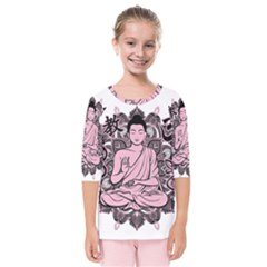 Ornate Buddha Kids  Quarter Sleeve Raglan Tee