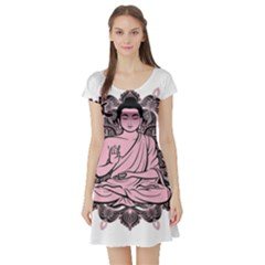Ornate Buddha Short Sleeve Skater Dress