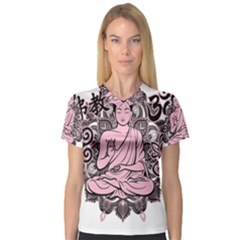 Ornate Buddha Women s V-Neck Sport Mesh Tee