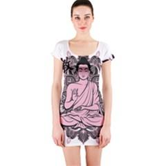 Ornate Buddha Short Sleeve Bodycon Dress