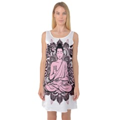 Ornate Buddha Sleeveless Satin Nightdress