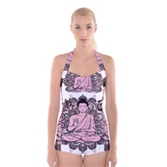 Ornate Buddha Boyleg Halter Swimsuit