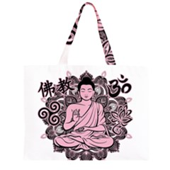 Ornate Buddha Zipper Large Tote Bag