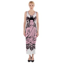 Ornate Buddha Fitted Maxi Dress