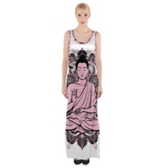 Ornate Buddha Maxi Thigh Split Dress