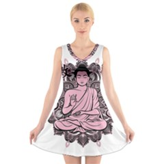 Ornate Buddha V-Neck Sleeveless Skater Dress