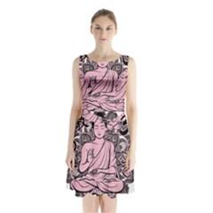 Ornate Buddha Sleeveless Waist Tie Chiffon Dress