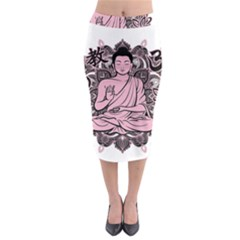 Ornate Buddha Midi Pencil Skirt