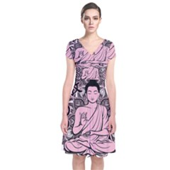 Ornate Buddha Short Sleeve Front Wrap Dress