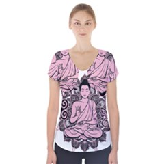 Ornate Buddha Short Sleeve Front Detail Top