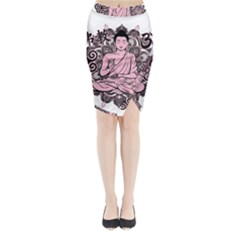 Ornate Buddha Midi Wrap Pencil Skirt