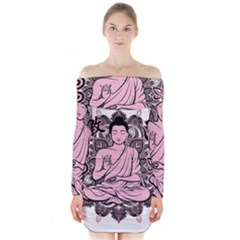 Ornate Buddha Long Sleeve Off Shoulder Dress