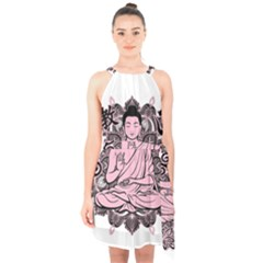 Ornate Buddha Halter Collar Waist Tie Chiffon Dress