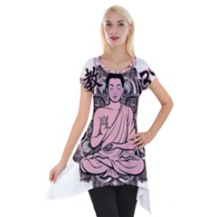 Ornate Buddha Short Sleeve Side Drop Tunic