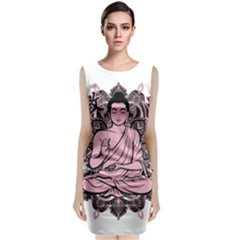 Ornate Buddha Sleeveless Velvet Midi Dress