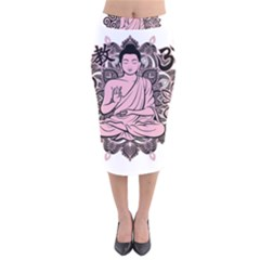Ornate Buddha Velvet Midi Pencil Skirt