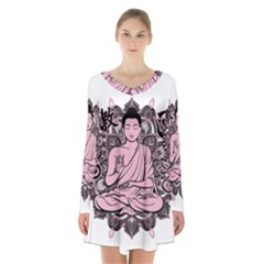 Ornate Buddha Long Sleeve Velvet V-neck Dress