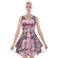 Ornate Buddha Velvet Skater Dress