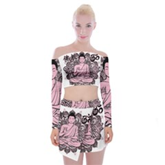 Ornate Buddha Off Shoulder Top with Skirt Set