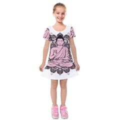 Ornate Buddha Kids  Short Sleeve Velvet Dress