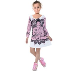 Ornate Buddha Kids  Long Sleeve Velvet Dress