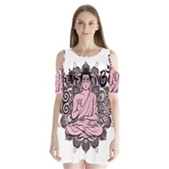 Ornate Buddha Shoulder Cutout Velvet  One Piece
