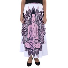 Ornate Buddha Flared Maxi Skirt