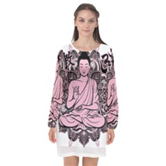 Ornate Buddha Long Sleeve Chiffon Shift Dress