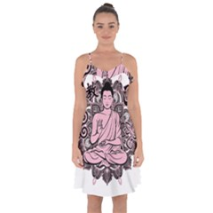 Ornate Buddha Ruffle Detail Chiffon Dress
