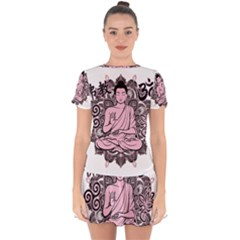 Ornate Buddha Drop Hem Mini Chiffon Dress