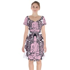 Ornate Buddha Short Sleeve Bardot Dress