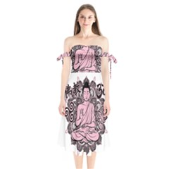 Ornate Buddha Shoulder Tie Bardot Midi Dress
