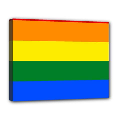 Pride rainbow flag Canvas 14  x 11