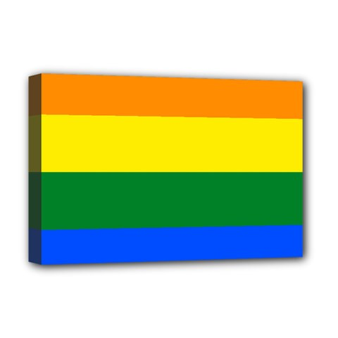 Pride rainbow flag Deluxe Canvas 18  x 12