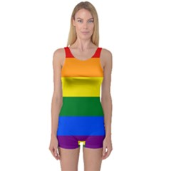 Pride rainbow flag One Piece Boyleg Swimsuit
