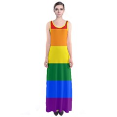 Pride rainbow flag Sleeveless Maxi Dress