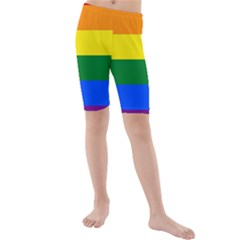 Pride rainbow flag Kids  Mid Length Swim Shorts