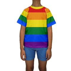Pride rainbow flag Kids  Short Sleeve Swimwear